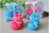 Wholesale Baby Shoes Candles - 2015 New Baby Shower favor Pink & Blue Baby Shoes Candle Birthday Gifts party decorations supplies with gift box free shipping