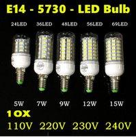 Wholesale Luminaria Led 15w - 10X Lampada LED Bulb 220V Tube 5730 SMD E14 LED Light Lamparas Bombillas LED Lamp Filament luminaria 12W 15W 110V Warm White White
