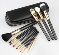 Wholesale Goat Hair Makeup Brushes Pink - NEW Nude Makeup Brushes Nude 12 pieces Professional Brush sets Gold package or Black Package