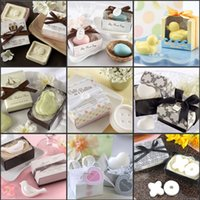 Wholesale Chinese Baby Bath - 16 Kinds Design Wedding Favors Mini Soap With Gift Box For Baby Shower Valentine's Day Wedding Party Game Gifts 2015 New Arrival