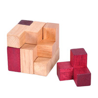 Wholesale wood brain teaser games online - Classic IQ Mind Brain Teaser D Wooden Cube Puzzle Game for Adults and Children
