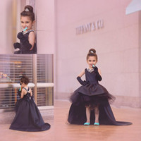 Wholesale fashion girl model dress online - Fashion black high low princess formal party gowns with bow sleeveless tulle satin little flower girls dresses for weddings