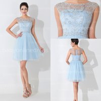 Иллюзия NewReal Pictures Light Sky Blue Tulle Short Cute Party Dresses 2015 Crew Neck Mini Sexy Cocktail Beading Homecoming Dresses BZP0465