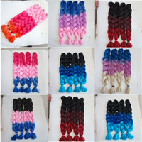 Wholesale red xpression braiding hair for sale - Group buy Kanekalon synthetic braiding Hair inch g Black burdundy Dark Red Ombre three tone color xpression jumbo braid hair extensions colors