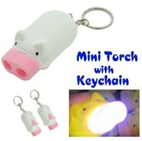 Wholesale Pig Keychains - Mini Pig Torch Flashlight Key Chain Cute Pig 2 LED Keychain Light Keyring Novelty Cute Cartoon Pig Flashlight Light Keychains