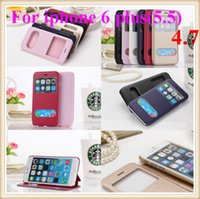 Wholesale Smart Flip Cell Phones - View Double Window Flip Leather PC Wallet Case For iPhone 6 Plus 5.5 4.7 inch dual windows Smart cell phone Cover shell with stand No box
