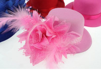 Wholesale Ladys Hats - New Arrival Ladys Mini Feather Rose Top Hat Cap Lace fascinator Hair Clip Costume Accessory The bride headdress Plumed Hat Free Shipping