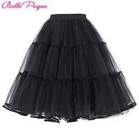 Wholesale Swing Petticoats - Wholesale- Tulle Skirt Pleated Fluffy Rockabilly Swing Petticoat Underskirt Crinoline Women Skirts Tutu Pettiskirt Summer faldas saia jupe