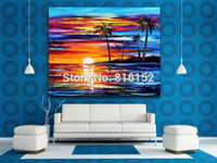 Wholesale Seaside Canvas - Tropical Seaside Sunset Palette Knife Oil Picture Seascape Mural Art Canvas Print For Home Office Cafe Wall Decoration