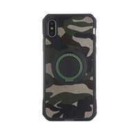 Wholesale Magnetic Films - For Iphone X Phone Case Ring Stand Car Magnetic Film Hybrid Luxury Camouflage Case For Iphone 8 7 Plus 6 Plus