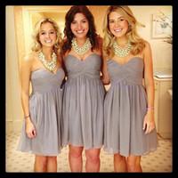 Wholesale Sweet Heart Short Dresses - Hot Sale High Quality Cheap Summer Beach Style Sweet-heart Zipper Above Knee-length Ruffle Grey Chiffon Short Bridesmaid Dresses 2015