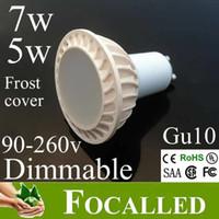 Wholesale Warm White Mr16 Halogen - Aluminum Led Bulb 5w 7w Gu10 Mr16 Led Lamp Frost Cover warm cold white 3000k 4500k Led Spotlight 650lm replace 60w halogen 120 Beam Angle