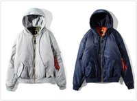 Wholesale Double Hooded - 2017 Autumn Winter Vetements Alpha Giant Sleeve Version Double Side Hooded Jacket Coat Jacket Vetements MA-1 Bomber Jacket Hoodie XS L