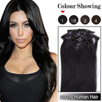 Wholesale Extension Clips Pcs - Wholesale - 7a 140g pc 8pc set #1 jet black 100% human hair brazilian hair clips in extensions real straight full head high quality