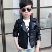 Wholesale Leather Jackets Without Collar - 2015 New Children'S For Boys And Girls Leather Jacket Motorcycle PU Leather Jacket Lapel Oblique Zipper Outerwear Coats