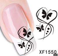 Wholesale Nail Butterfly Stickers - XF1550] The butterfly and Flowers Design New Arrival Water Transfer Nail Art Stickers Decal