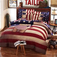 Wholesale Kids Doona Covers - Teddy bear bedding set Kids king size queen twin cartoon quilt doona duvet cover western 100% cotton bed sheets bedspreads striped linen