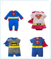 Wholesale Girls Superman Style Romper - Free DHL 4 Styles Baby One-Piece baby Romper boys girls Superman style Romper Superman Rompers Pink Supergirl romper Batman Clothes