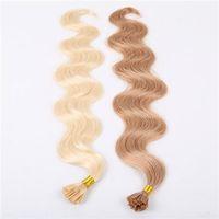 colores de cabello italiano al por mayor-Una variedad de hermosos colores Chiese Bonded U TIP Extensiones de ondas corporales 10-30 pulgadas 6A Virgin Hair Extension humana 100g