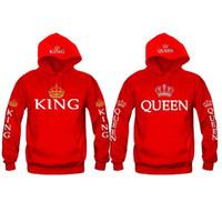 Wholesale Red Coat Hood Women - Wholesale cotton new lovers crown KING QUEEN letter printing hooded long-sleeved sweater hood coat hoodie