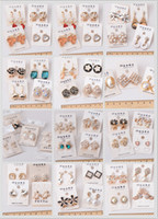 Wholesale order flowers resale online - Mixed order pairs alloy Mosaic shiny Seven color gem pearl Resin drill Stud earrings Fashion woman girl earrings
