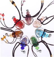 yağ şişesi şişe kolye toptan satış-Murano lampwork cam kolye aromaterapi kolye kolye takı parfüm flakon şişe kolye esansiyel yağı difüzör kolye