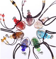 Wholesale Heart Glass Bottles - murano lampwork glass pendants aromatherapy pendant necklaces jewelry perfume vial bottle pendants essential oil diffuser necklace