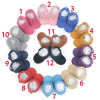 Wholesale Girls Bootie - 12 Color Baby moccasins soft sole PU leather first walker shoes baby leather newborn shoes Tassels maccasions boot  bootie sweet girl B001