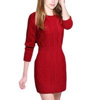 Wholesale Badage Dresses - Women Pullover Winter Sweaters 2016 All-match Slim Badage Knitted Sweater Long sleeved Sweater Dress Ladies Long Sweater 3 Color