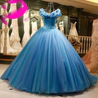 Wholesale Pageant Outfits - Real Image Blue Puffly Ball Gown Quinceanera Dresses V Neck Handmade Flowers Tulle Pageant Gowns Prom Bridal Outfit Custom