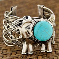 Wholesale Lucky Tibetan Bracelet - Tibetan Style Girl Women's Antique Silver Plated Round Turquoise Elephant Cuff Bangle Bracelets Lucky Gift MB125