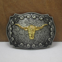 Wholesale Western Women Belts - BuckleHome western belt Buckle with bull head with pewter and gold finish FP-03522 with continous stock free shipping