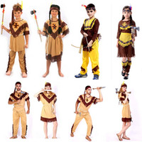 Wholesale Masquerade Party Kids Costumes - Adult Kids Women Men Indian Princess Prince Dress Costume Men Soldiers Warrior Fancy Dress Party Masquerade Cosplay Carnival Costumes