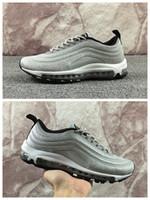 Wholesale Diamond Sneakers - 2017 Hot Air 97 Swarovski Metallic Black Silver White Bullet Men Women Running Shoes Crystal Diamonds Designer Brand Sports Sneakers 36-46