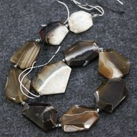 Wholesale agate slab beads for sale - Group buy 10pcs Strand Brown Druzy Agate Gemstone Beads Natural Slice Slab Drusy Druzy Agate Necklace Pendant Connector Jewelry Make Price