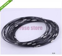 Wholesale Wire Cable Necklace Chain Wholesale - Wholesale-100pcs 18 Inch Black 1MM Stainless Wire Cable Steel Chain Cord Necklace Screw Clasp Jewelry findings