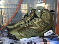 Wholesale Leather Jacket Gold - High Quality Basketball Shoes 6 Jacket Army Green Wheat Yellow Air 6s Men Women Sports Sneakers Shoes Free Shipping With Box