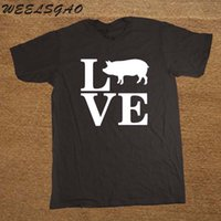 2018 Fashion Hip Hop New Fashion Estate Style Farm Animal Love Pigs T-Shirt divertente girocollo T-shirt a manica corta per gli uomini di marca