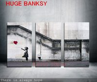Wholesale Banksy Oil Paintings - Freeshipping Canvas ONLY 3 pieces Large banksy there is always hope modern wall painting home decor print art on prints art