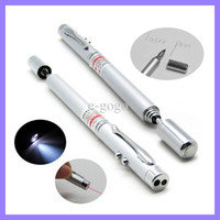 Wholesale Laser pen MULTI FUNCTION in Red Laser Pointer LED Light Lamp Ball Pen Torch Telescopic Pointer to Teach Silver