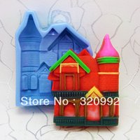 Wholesale Soft Silicon Mold For Soap - Free shipping 3D Soap Molds Castle Soft Silicon mold DIY Mould For pudding cookie Jelly Cake cookie handmade soap