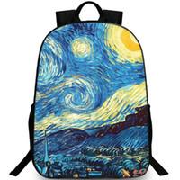 Wholesale Night Backpack - Starry night backpack Van Gogh daypack Great painting schoolbag Leisure rucksack Sport school bag Outdoor day pack