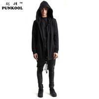 hoodies do estilo britânico venda por atacado-Atacado-Cardigan Hoodies Estilo Britânico Homens Hoodies Hip Hop Streetwear Longo Zipper Estendido Camisolas Tyga Sportswear Roupas 100