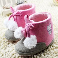 Wholesale Fabric Baby Shoes Pattern - Babyshoes winter warm kids shoe,cartoon pattern baby shoes boots, soft toddler pink color 9 pair l