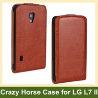 Wholesale Lg L7 P713 - Wholesale Elegant Crazy Horse Pattern PU Leather Flip Cover Case for LG Optimus L7 II P710 P713 with Magnetic Snap Free Shipping