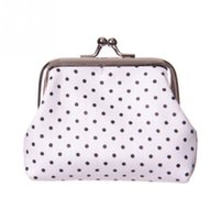 Venda Por Atacado - Polka Dot Print Coin Purse Change Wallet Crianças Kids Ladies Small Coin Cards Purse Small Make Up Bag