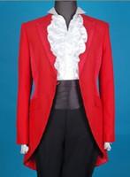 Wholesale Fashionable Romantic Peak Lapel One Button Groom Tailcoat Wedding Party Groomsman Suit Wedding Party Suit Jacket Pants Tie Vest