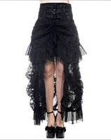 Wholesale Bustled Skirt - regular&plus size Fashion Design Popular Long Gothic Steampunk Skirt Black VTG Victorian Lace Bustle Corset