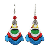 Wholesale Embroidery Earrings - Chinese style Bohemian Jewelry Handmade Colorful Embroidery Long Drop Earrings for Women
