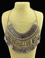 Wholesale Tribal Beaded Necklace Wholesale - Bohemia Vintage Style Tribal Gypsy Boho Turkis Antalya Golden Silver Zamac Jewelry Carving Metal Coin Fringe Statement Necklace